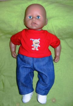 Doll's jeans and tee shirt for Baby George doll