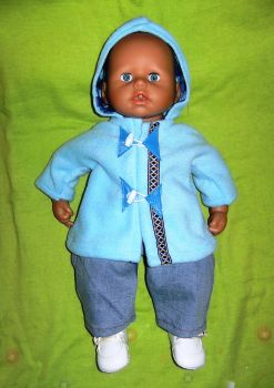 Doll's duffle coat made to fit the 18 inch high Baby George doll