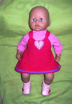 Doll's pinafore dress and tee shirt made to fit Baby Annabell and most 18 inch high baby dolls