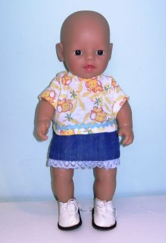 Doll's top and skirt set