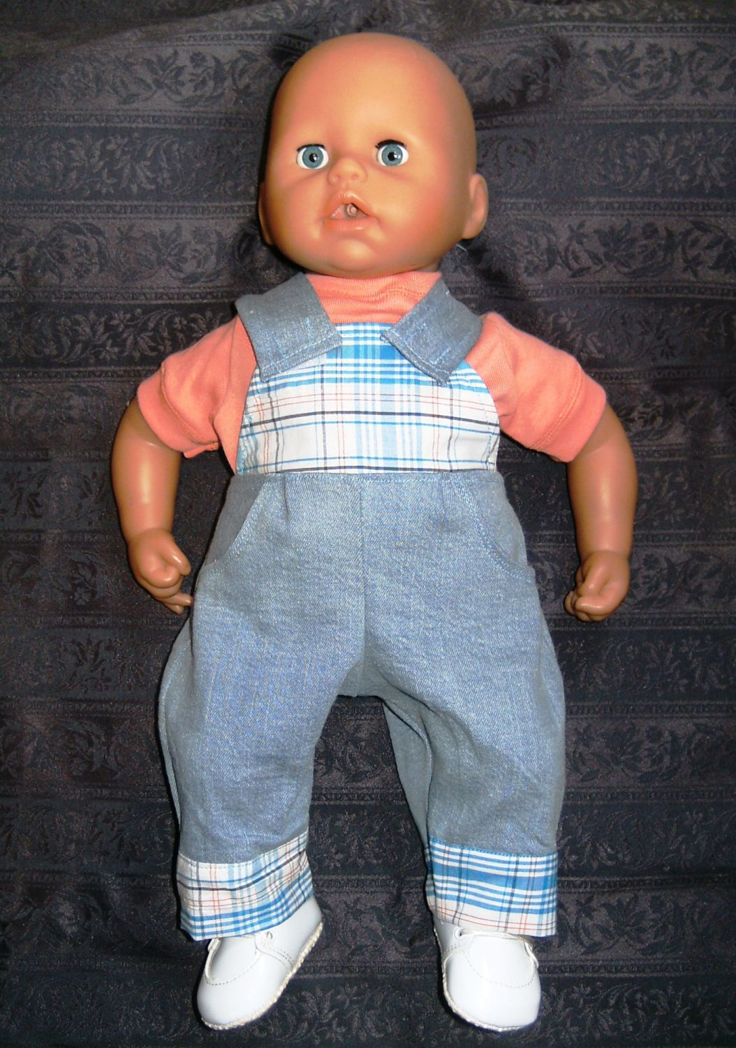 Doll's dungaree set made for the 18 inch high George doll