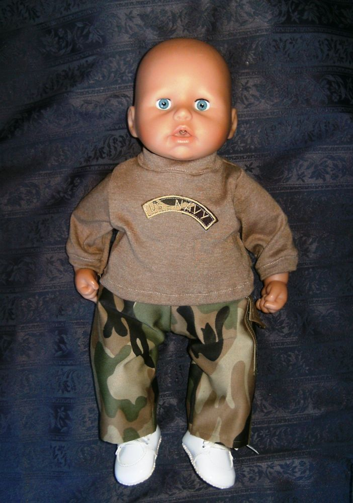 Doll's sweatshirt and cargo pants to fit the 18 inch high George doll