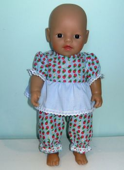 Doll's frilly pajamas to fit a 12 inch high baby doll