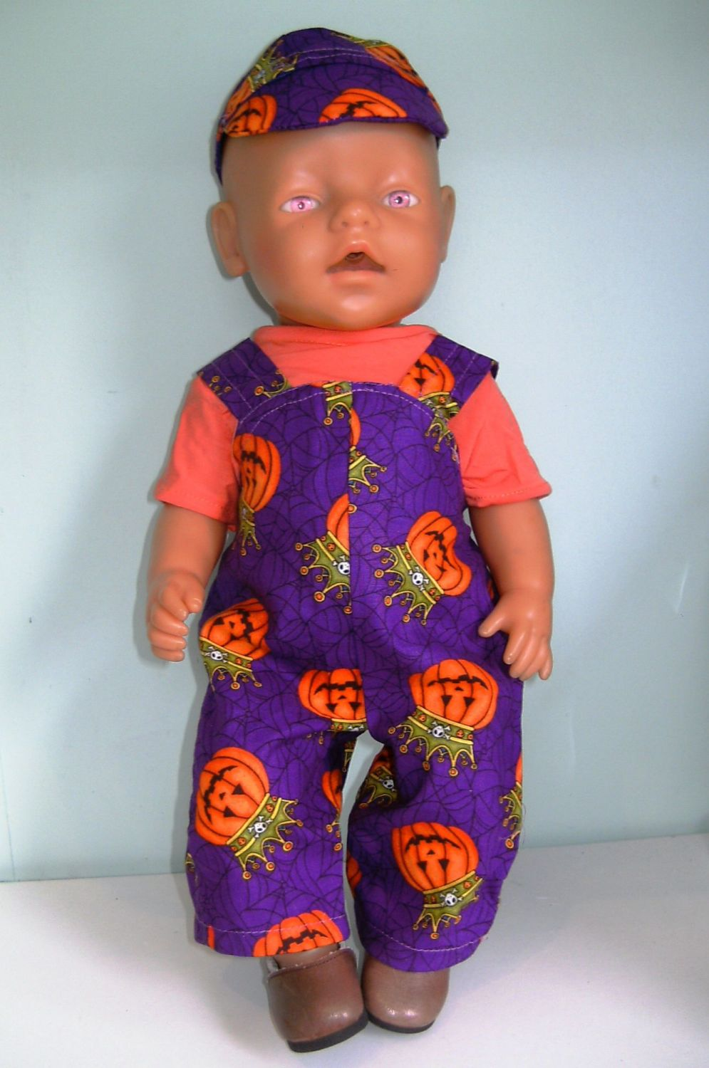 Doll's Halloween dungaree set