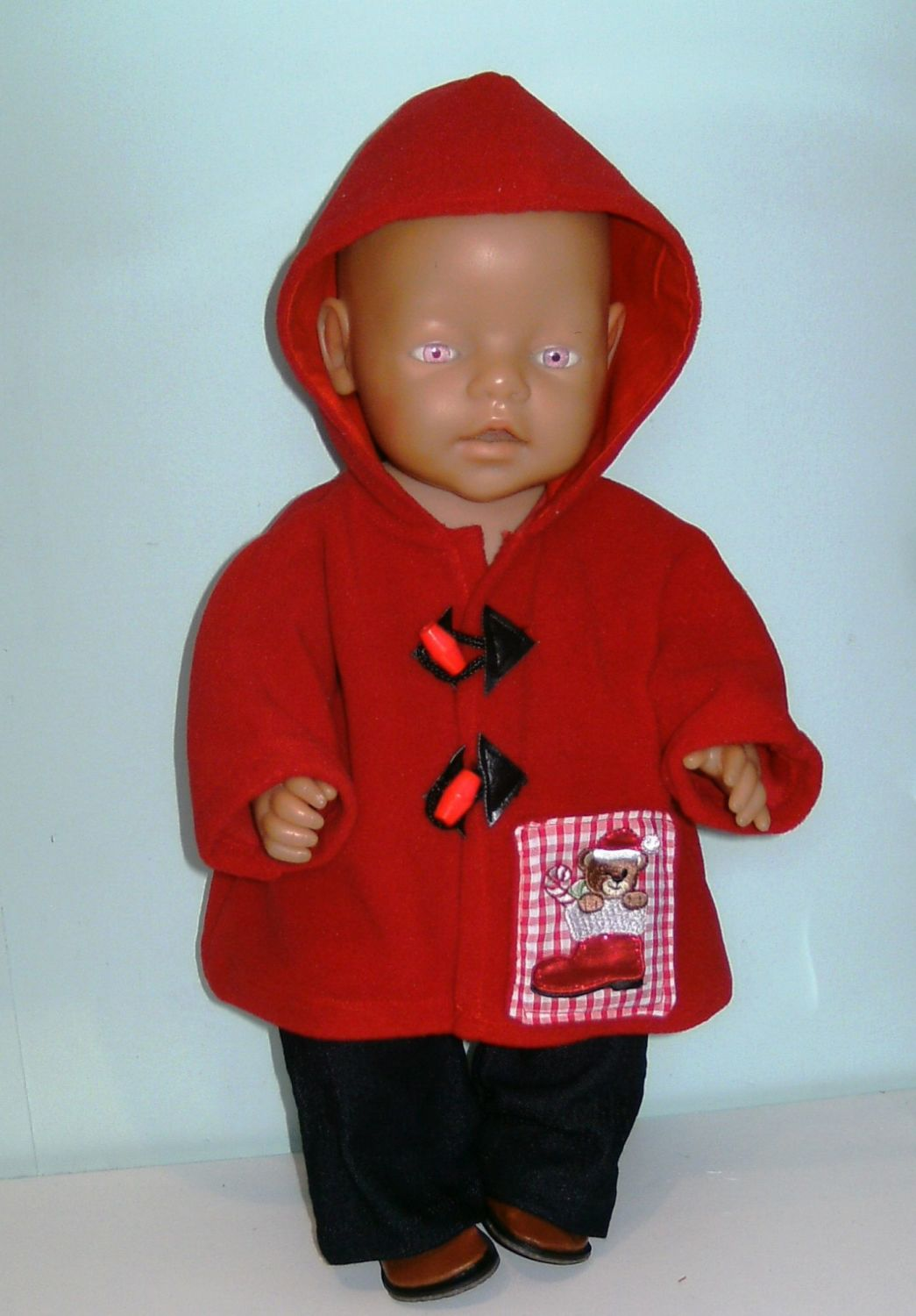Doll's duffle coat for Baby Born Boy