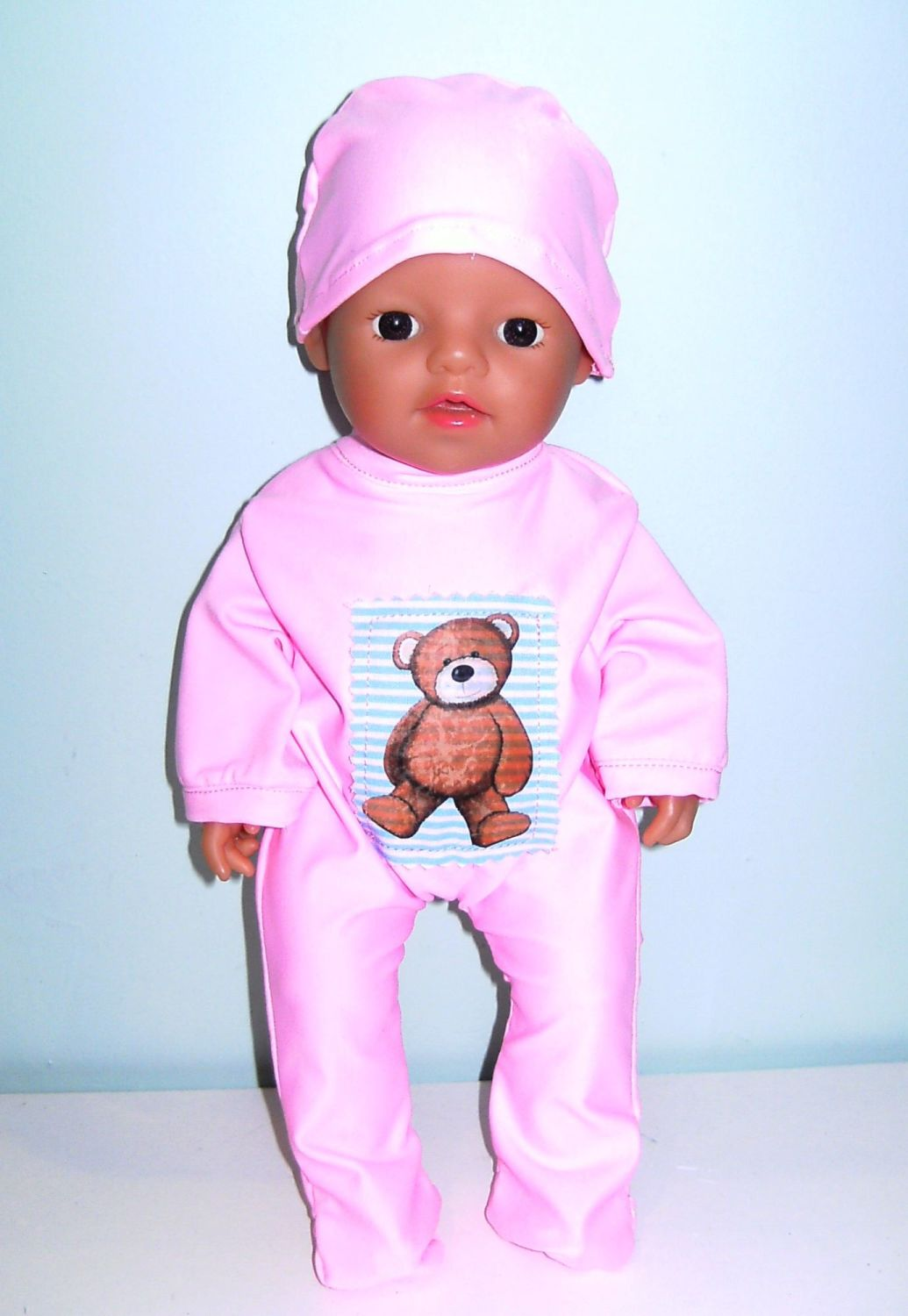 Doll's babygro / sleepsuit and beanie  for a 12 inch baby doll