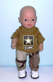 Doll's army oufit to fit 12 inch baby boy doll