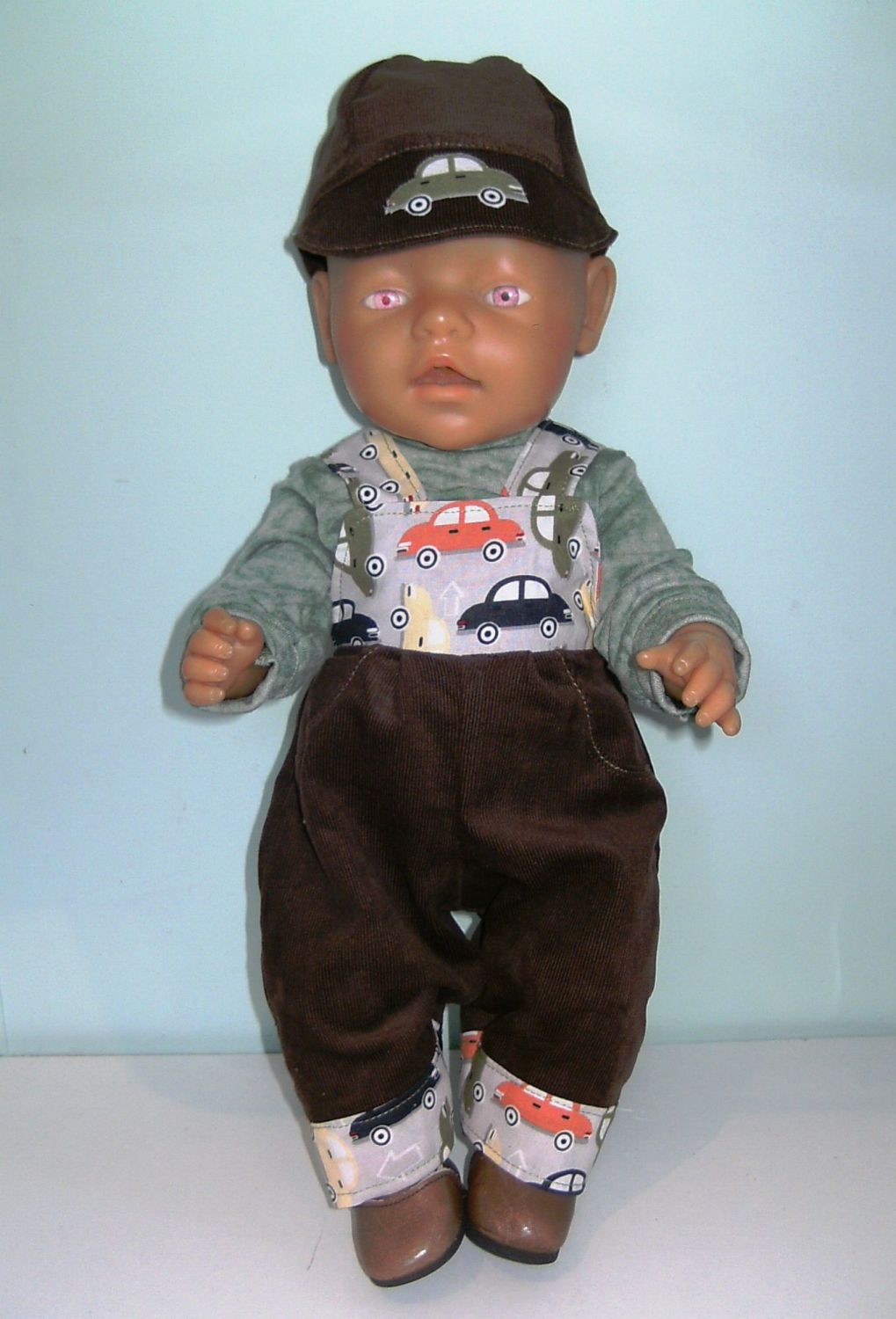 Doll's dungaree set made to fit Baby Born boy and similar sized baby boy do