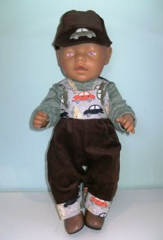 Doll's dungaree set made to fit Baby Born boy and similar sized baby boy dolls