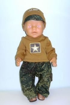 Doll's army outfit to fit Baby Born doll and most 16 inch high baby dolls