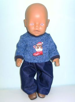 Doll's Christmas jumper outfit to fit baby Born Boy