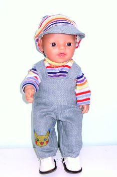 Doll's dungaree/overalls set for baby boy doll
