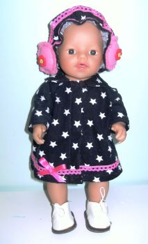Doll's coat and earmuffs/ Alice band set