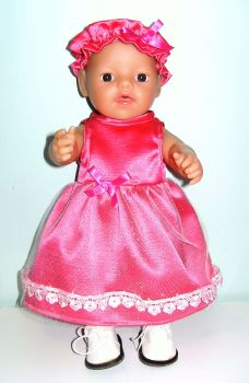 Doll's pink satin party dress
