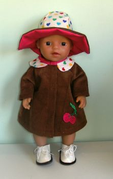 Doll's coat and hat set to fit 12 inch high baby doll