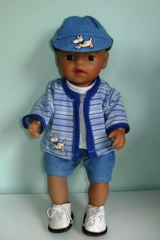 Dolls 'going out' outfit made to fit a 12 inch high baby boy doll