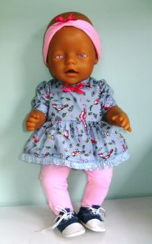 Doll's Angel top  and tights set made to fit Baby born girl doll and most 16 inch high baby dolls