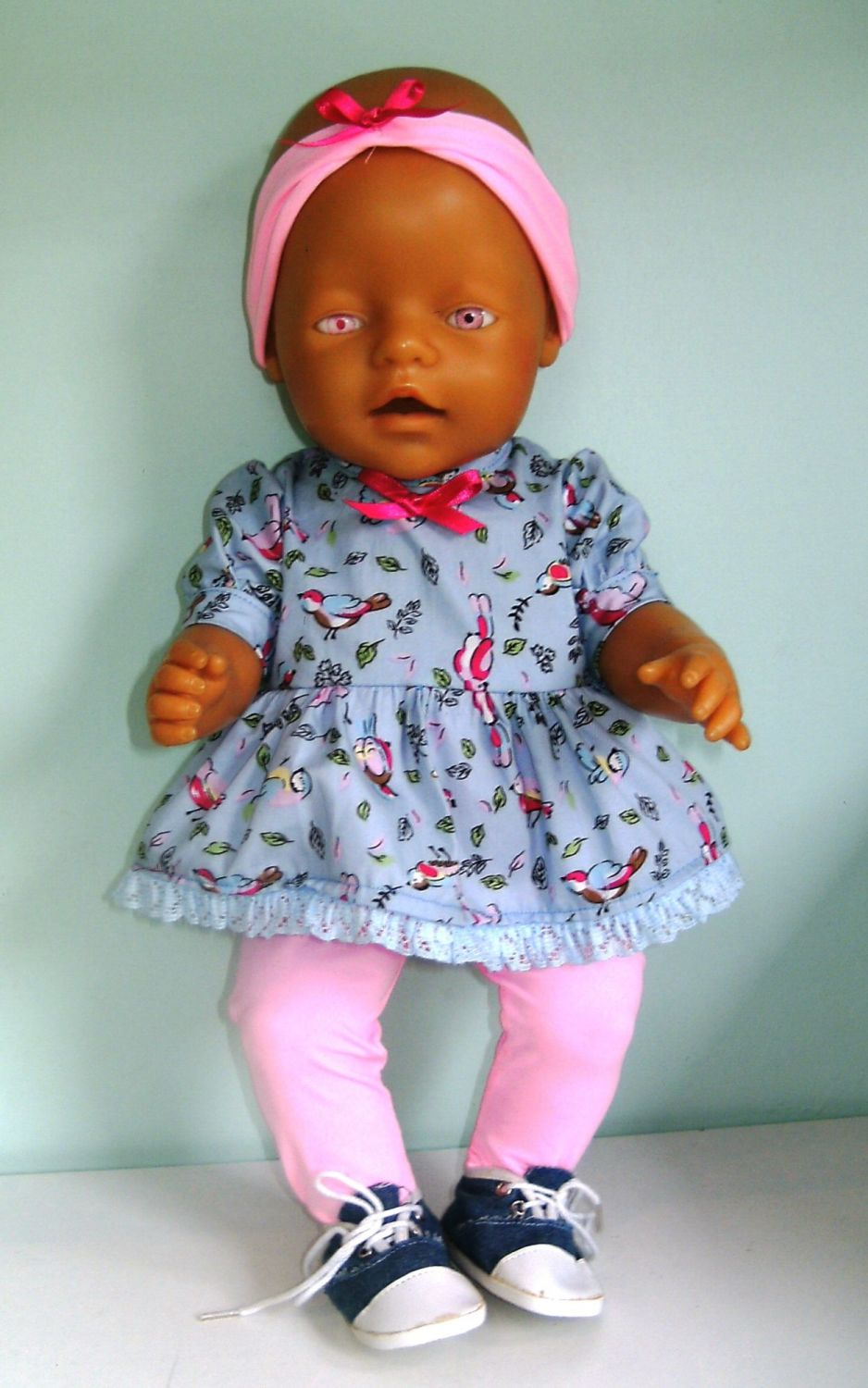 Doll's Angel top  and tights set made to fit Baby born girl doll and most 1