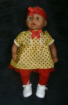 Doll's dress and tights set made ti fit the 18 inch Baby Annabell doll  and most 18 inch high baby dolls