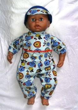 Doll's all-in-one and hat made to fit the 18 inch George doll and most 18 inch high baby boy dolls