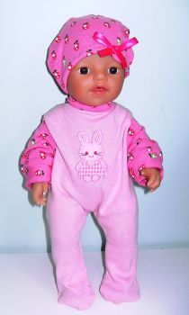 Doll's pink and strawberry print sleepsuit to fit a 12 inch high baby doll
