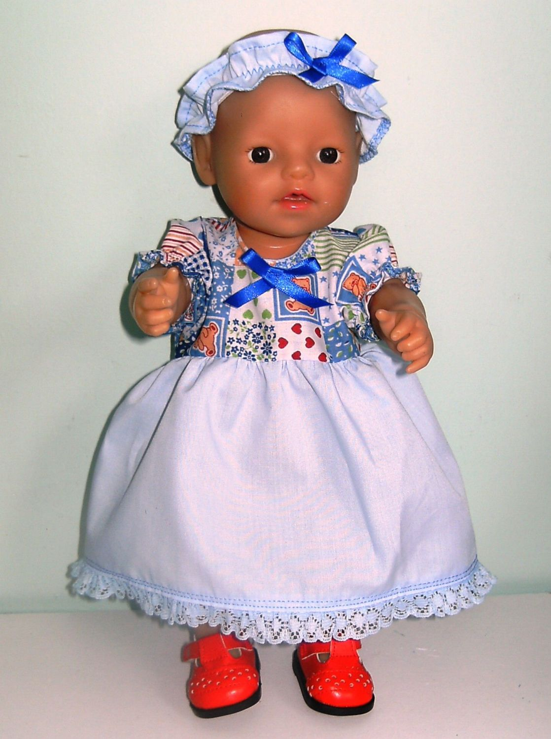 Doll's Dress and Alice band made to fit a 12 inch high baby doll
