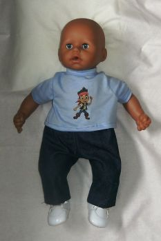Doll's jeans and tee shirt made to fit Baby George and most 18 inch high baby boy dolls