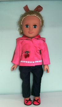 Doll's hooded corduroy jacket and jeans with real pockets