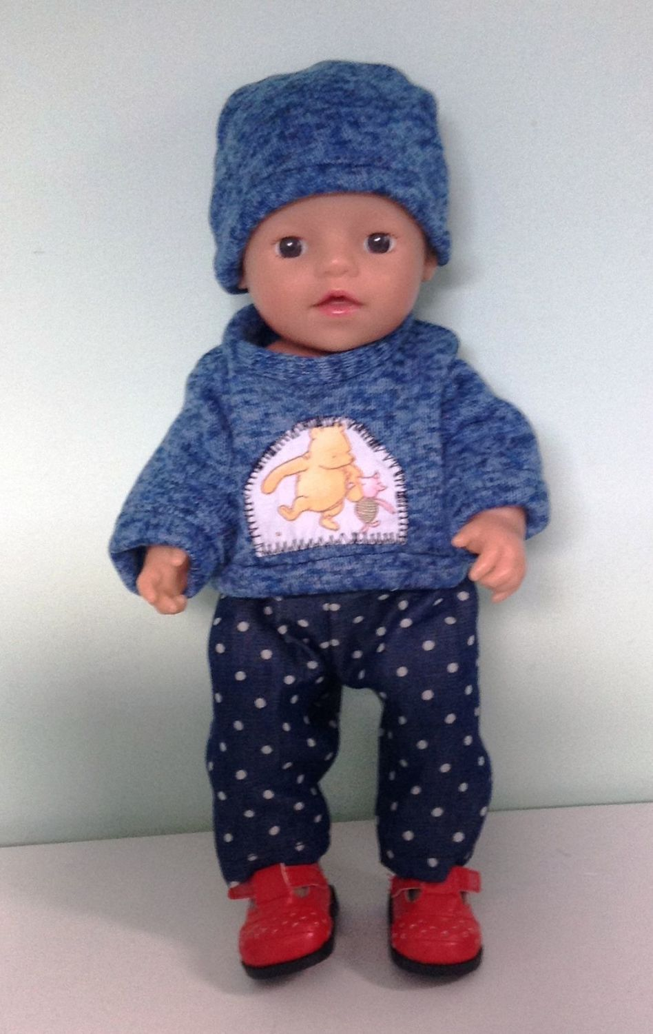 Doll's jeans, sweater and hat set made to fit a 12 inch high baby boy doll