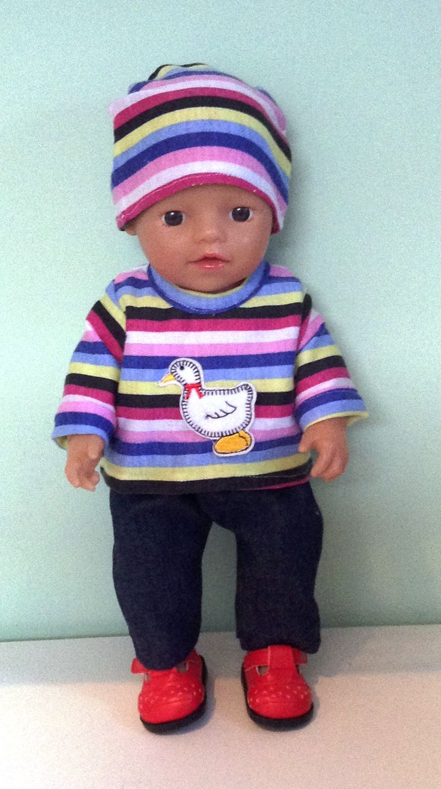 Doll's sweatshirt , hat and jeans set made to fit 12 inch high baby boy dol