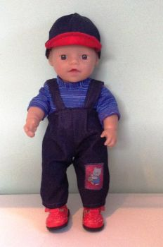 Doll's dungaree outfit made to fit a 12 inch high baby boy doll