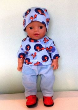 Doll's sweatshirt hat and jeans set