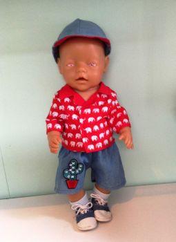 Doll's shirt, shorts and baseball hat set