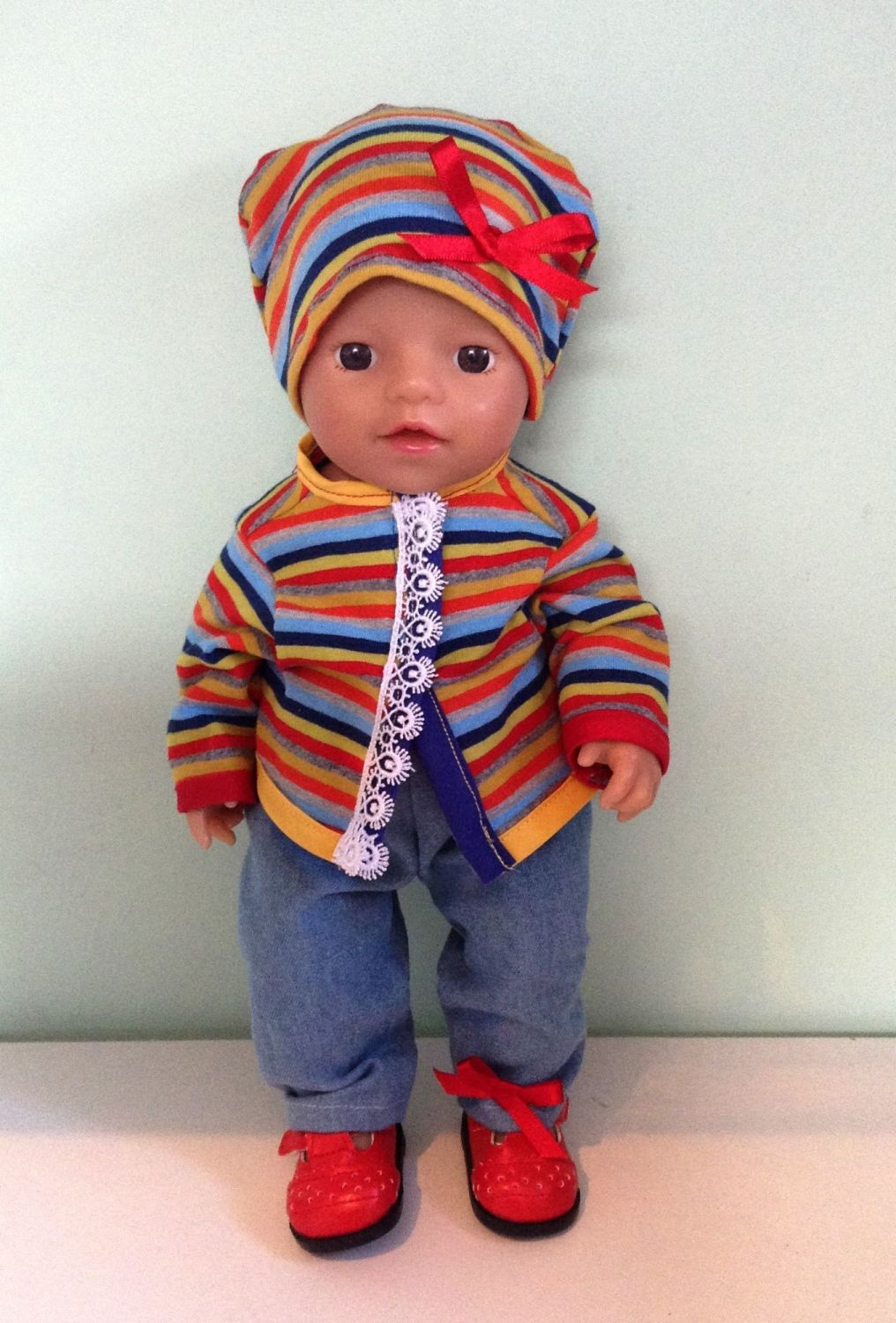 Doll's Jacket, jeans and beanie hat made to fit a 12 inch high baby girl do