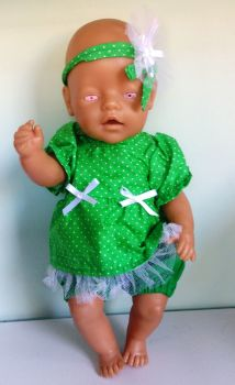 Dolls dress and panties set to fit Baby Born and most 16 inch baby dolls