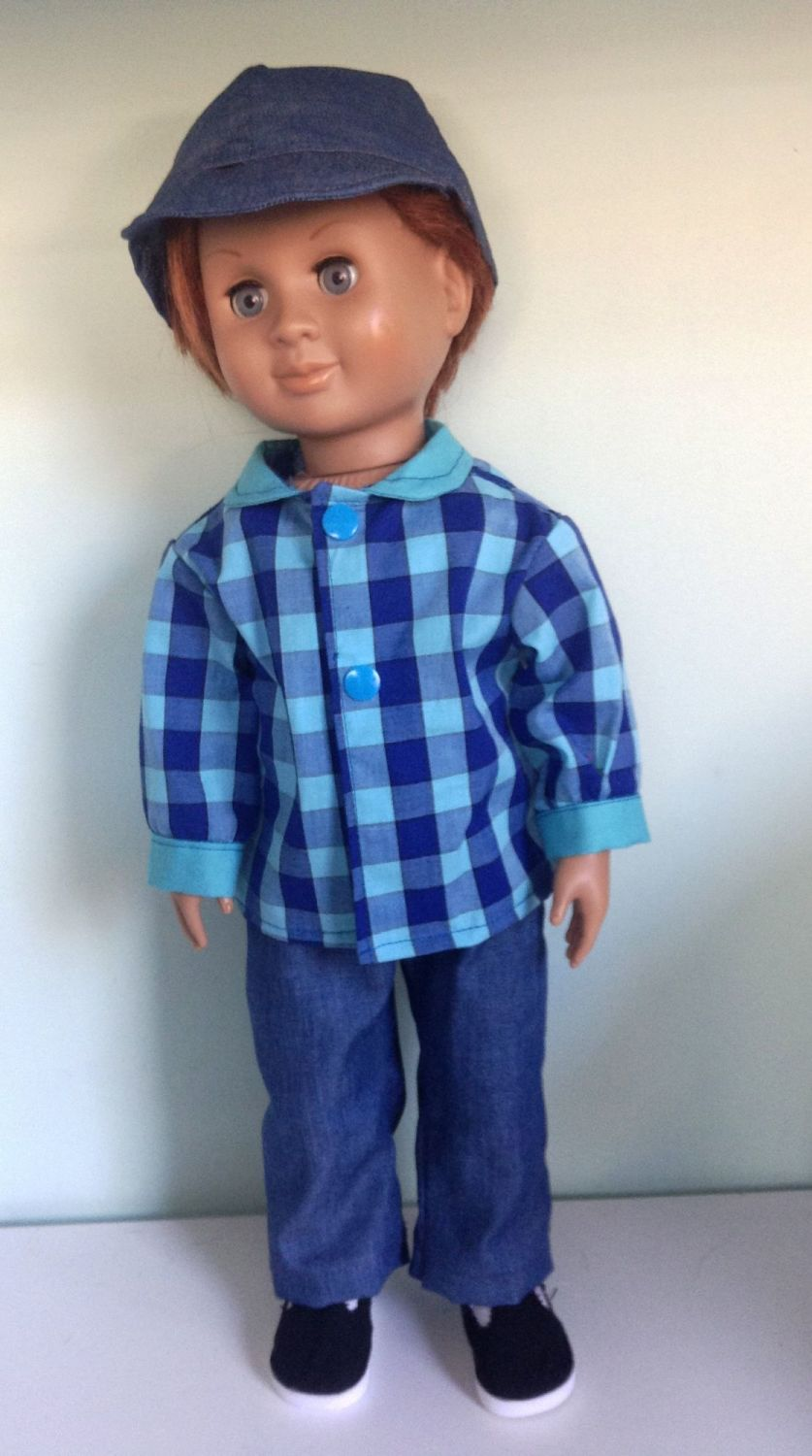 doll's jeans, shirt and cap to fit a 18 inch boy doll