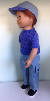 Doll's Jeans tee shirt and cap set