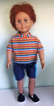 Doll's denim shorts and tee shirt made to fit a 18 inch high boy doll