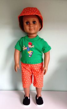 Doll's shorts, tee shirt and cap set made to fit 18 inch high boy doll