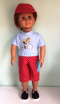 Doll's shirt, shorts and baseball hat set made for 18 inch boy dolls