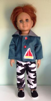 Doll's hooded jacket made to fit a 18 inch high boy doll