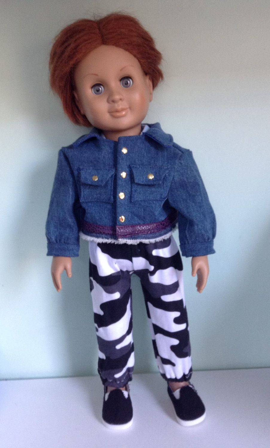 Doll's denim jacket to fit  18 inch boy doll such as Our Generation
