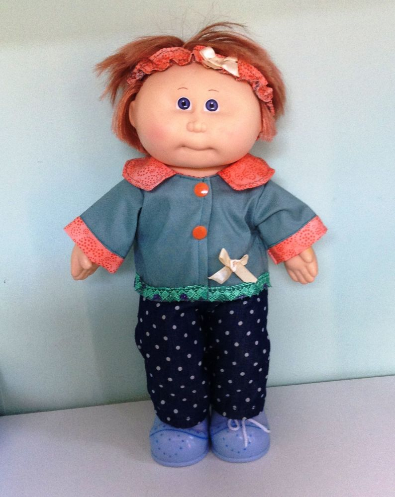Doll's jacket and jeans set  made to fit the 14 inch high Cabbage Patch dol