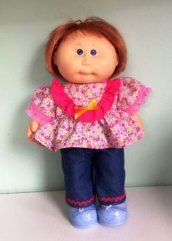 Doll's angel top and jeans set made to fit 14 inch high Cabbage patch doll.