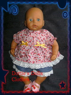 Dolls shorts set fits Annabell and most 18 inch baby dolls