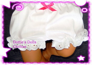 Frilly panties to fit Annabell doll and most 18 inch baby dolls