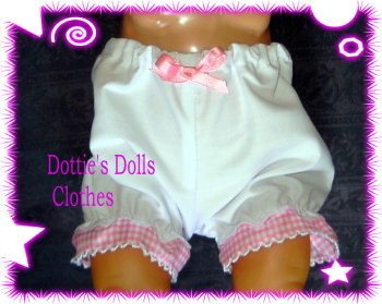 Doll's panties to fit baby born and most 16 inch baby dolls