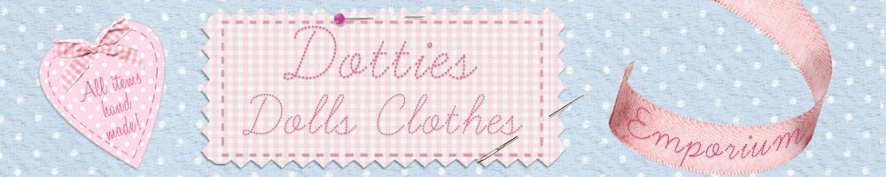 Dotties dolls clothes emporium, site logo.