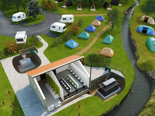 Camp site caravan park holiday parl sewage treatment plants
