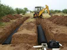 soakaway from a sewage treatment system